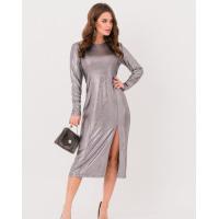 Серебритое нарядное платье с боковым разрезом