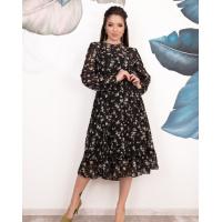 Черное платье-трапеция из шифона с воланом