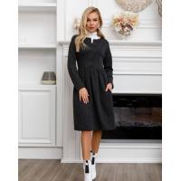 Темно-серое классическое платье на пуговицах