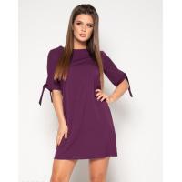 Фиолетовое однотонное платье с завязками на рукавах