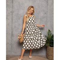 Платье-трапеция цвета хаки в белый горох