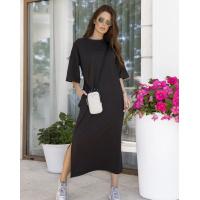 Черное трикотажное прямое платье с разрезами