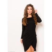 Черное платье-футляр с юбкой на запах