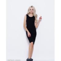Черное трикотажное платье без рукавов