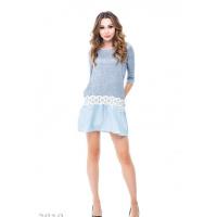 Серое демисезонное мини-платье с подолом из голубого коттона