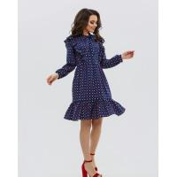 Темно-синее платье с рюшами и цветным горошком