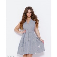 Черно-белое полосатое мини платье из коттона