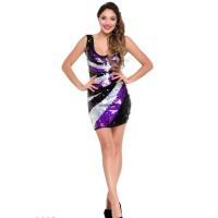 Черно-сиреневое коктейльное мини-платье в пайетку без рукавов с декольте