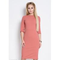 Персиковое однотонное облегающее офисное платье до колен