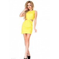 Желтое платье с боковыми прорезями
