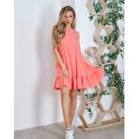 Коралловое расклешенное платье с воланом