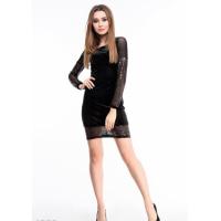 Черное велюровое платье с вырезом на спине и полупрозрачными вставками с пайетками