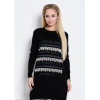Черное платье-свитер из тонкой шерсти с декором спереди