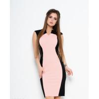 Черное платье-карандаш с розовой вставкой
