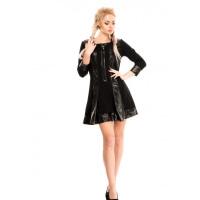 Черное платье-трапеция с кожаными вставками