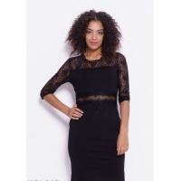 Черное трикотажное платье с кружевным декором
