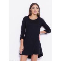 Черное трикотажное платье с хлястиками на рукавах