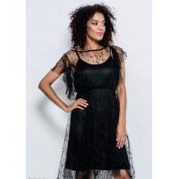 Черное комбинированное платье из короткой комбинации и кружевного верхнего платья на кулиске расшитого жемчужинами