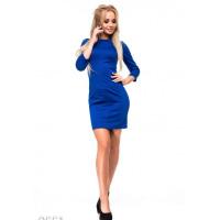 Ярко-синее полуоблегающее платье из двунити с фактурным швом