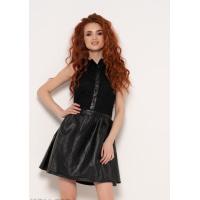 Черное платье без рукавов с кожаной юбкой