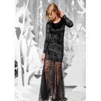 Черное вельветовое платье с ажурным подолом