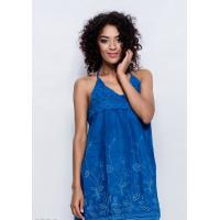 Темно-синее коттоновое короткое платье с перфорацией по подолу и лифом-мулине