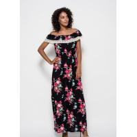 Черное длинное коттоновое платье с цветочным принтом, отворотом и винтажным кружевом