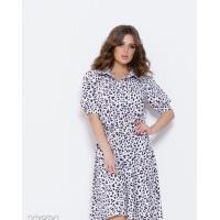 Черно-белое платье с леопардовым принтом