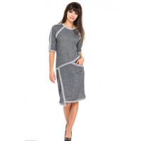 Серое асимметричное платье из двунити со светло-серой отделкой
