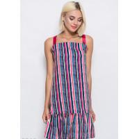 Цветное полосатое короткое платье-сарафан из софта в полоску с воланом по низу и шлейками