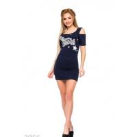 Синее платье-футболка с принтом и прорезями на плечах
