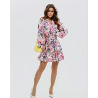 Цветочное короткое платье с V-образным декольте