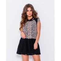 Шифоновое леопардовое платье с гипюровой юбкой