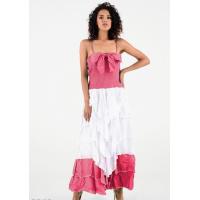 Розовый сарафан с жаткой и пышной юбкой