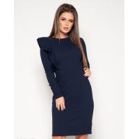 Темно-синее платье с длинными рукавами и рюшами
