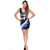 Черно-синее коктейльное мини-платье в пайетку без рукавов с декольте