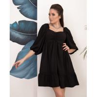 Черное платье-трапеция с рукавами-фонариками