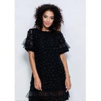 Черное кружевное короткое платье с фатиновыми рюшами и декором из объемных шифоновых цветов