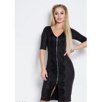 Черное замшевое платье футляр с длинной молнией и кружевом