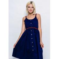 Темно-синее коттоновое платье на кнопках с декоративными бретелями и кулиской