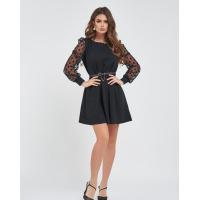 Черное платье-трапеция с сетчатыми рукавами