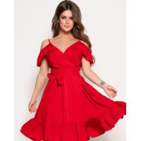 Красное платье на бретелях со спущенными плечами