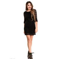 Черное двухслойное кружевное платье с вырезом-лодочкой
