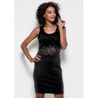 Трикотажное платье черного цвета без рукавов, украшенное кружевом с бусинами и жемчужинами
