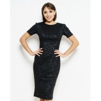 Черное фактурное платье-карандаш миди длины