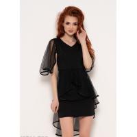 Черное нарядное платье с сетчатыми вставками