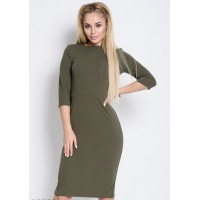 Однотонное облегающее офисное платье цвета хаки длиной до колен