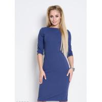 Синее однотонное облегающее офисное платье до колен
