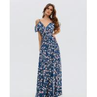 Цветочное платье-халат на запах с воланами