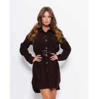 Темно-коричневое вельветовое асимметричное платье-рубашка
